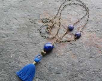 Lapis lazuli necklace, silk tassel necklace, long blue stone necklace, layering necklace, blue tassel necklace,  semiprecious gemstone, gift