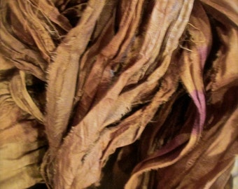 Mocha Recycled Sari Silk Thin Ribbon Yarn 5, 10 or 50 Yards for Jewelry Weaving Spinning & Mixed Media