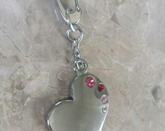Heart purse pull red and pink crystal stones, zipper pull, sturdy, charm, charms, gift, key ring, key chain, purse pull