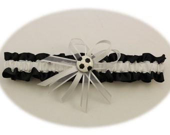 Black and White Wedding Garter with Soccer Deco, Prom Garter, Bridal Garter