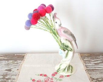 Pom pom Flower Bouquet - Purple and Pink Faux Flowers - Wool Felt Balls -  Hot Pink Felted flowers - Craspedia, Billy Buttons, Billy Balls