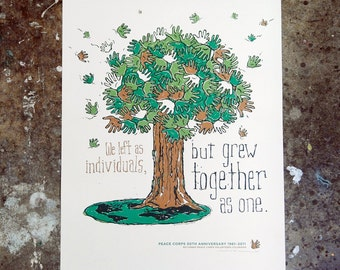 Peace Corps 50th Anniv: Tree - hand pulled screenprint poster