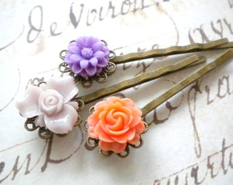 Purple Hair Accessories Flower Bobby Pin Bridesmaid Gift Orange Hair Pin Children Gift Set Bobby Pin For Girls Floral Hair Accessories