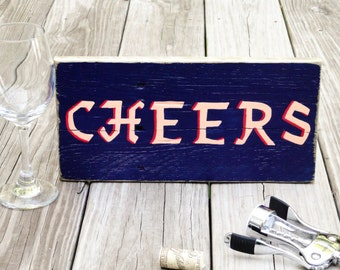 CHEERS - Rustic Sign - Bar/Pub Wall Decor - Kitchen/Dining Room - Restaurant/Cafe - Man Cave - Cocktails - Wine/Beer - Hostess/Host Gift