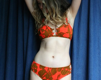 1960's Bikini / orange and copper Floral Print / Teensy Bathing Suit / Resort Wear / Vintage Swimsuit / Sixties Swimmy