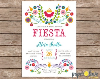 Fiesta bridal shower invitation / mexican bridal shower  / printable invitations / printed invitations