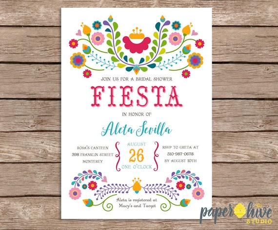 Fiesta bridal shower invitation / mexican bridal shower /