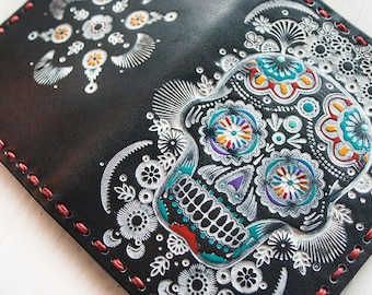 Leather Passport Cover - Colorful Hand Painted Sugar Skull - Day of the Dead - Mexicali Southwestern Passport Wallet - Made to Order