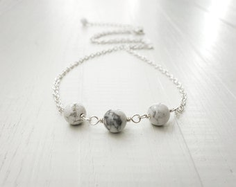 Howlite necklace white stone necklace minimalist chain necklace howlite stones necklace for women