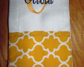 Quatrefoil Personalized Monogrammed Baby Burp Cloth - Perfect for a Baby Shower