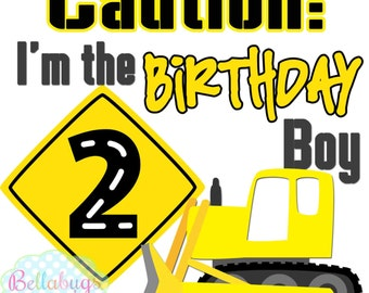 Birthday Boy Construction IRON ON TRANSFER- Personalized Name - Boy Birthday - Tshirts