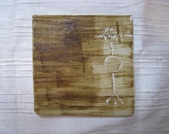 Ceramic Art Tile or Art Coaster - Petroglyph Crow - Ceramic Tile - Ceramic Coaster - Bird Tile - Bird Coaster