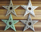 DESTASH - Painted Wood Stars - Set Of 4 - Rustic Home Decor