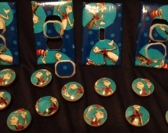 Dr. Seuss Disney Light Switch Plate Cover Outlet Covers or Knobs