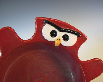 Red Owl Stoneware Bowl - Handmade - In Stock