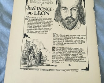 Book page print . Juan Ponce DeLeon the soldier who sought tge fountain of youth. 7 x11 Great for framing for the collector. History.