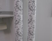 Set of 2 and Refrigerator Handles Covers-Vinyl White and Light Grey Damask