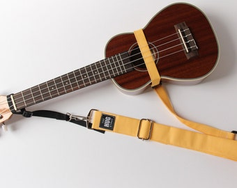 The Hug Strap, Handmade Ukulele Strap, No Need for Strap Buttons, Yellow, Gift for Uker