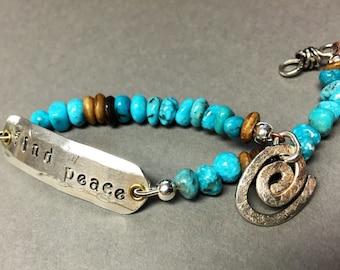 Find Peace bracelet -:- Beaded turquoise. Silver ID. Western. Southwest.