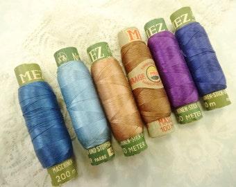 Vintage MEZ German Sewing Thread Spools Paper Tube Bobbins Lot (5) Each Plus Shabby Antique Lace Needful Notions Bundle