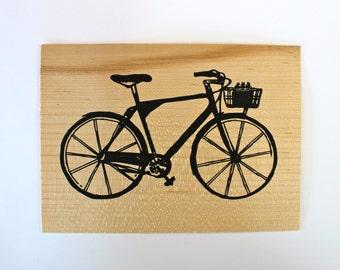 Bike - Screen print on wood veneer // Vélo - Sérigraphie sur placage de bois
