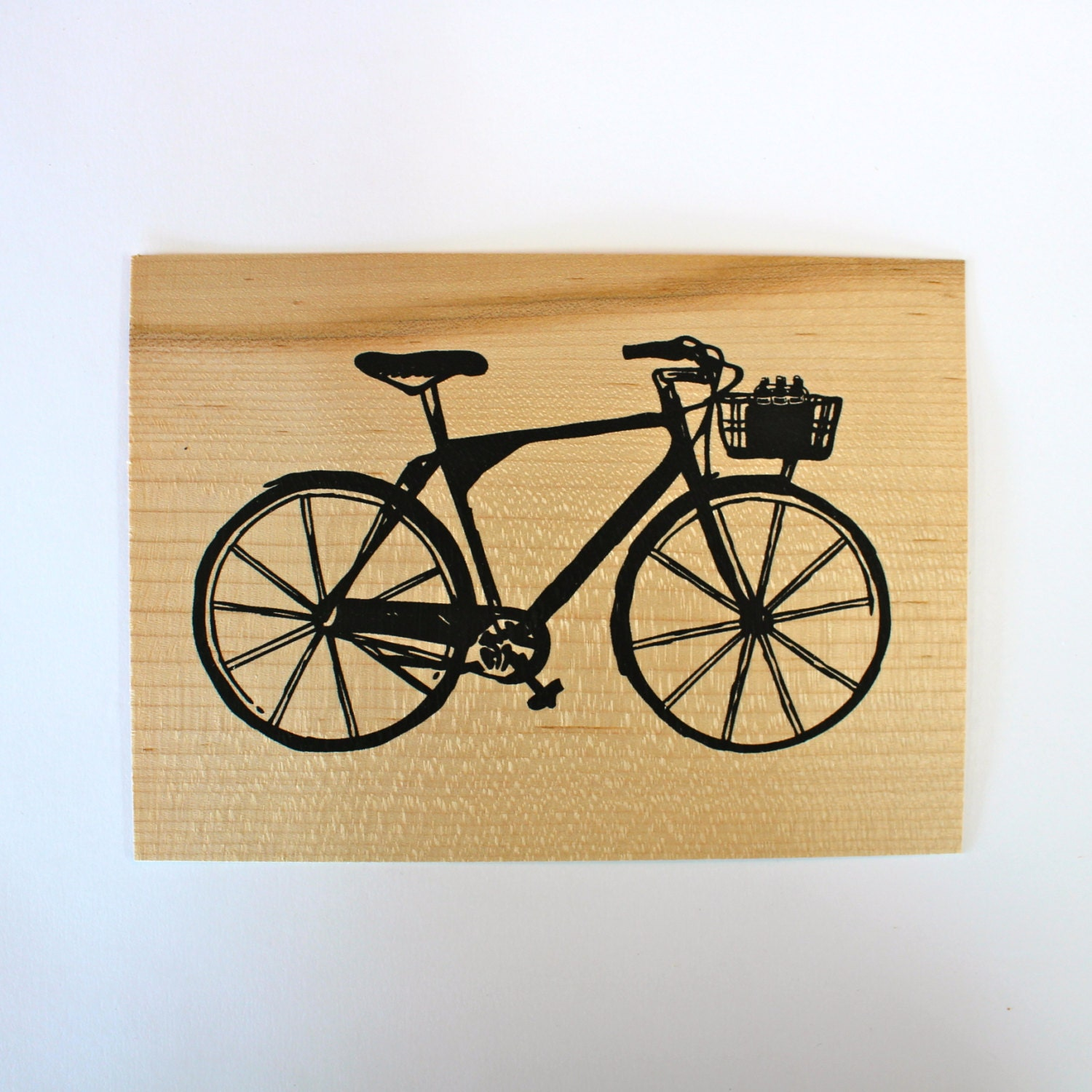 bike screen print on wood veneer v lo s rigraphie sur placage de bois from unikprintshop. Black Bedroom Furniture Sets. Home Design Ideas