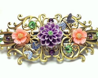 SALE,Flower Garden Barrette,Crystal Dragonfly,Purple,Peach Flower Hair Jewelry,Filigree Barrette,Crystal Hair Jewelry, Hair Art Barrette