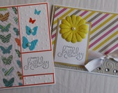 Set of 2 Beautiful Handmade Happy Birthday Ladies Girly Greeting Cards Free Shipping