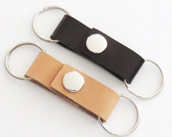 Leather valet keychain key ring key fob - Father's Day gift - Gift for Dad birthday gift - Stocking stuffer (Brown or neutral leather)