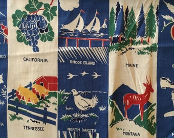 """Vtg Fabric With The States -  1 Yard 10"""""""