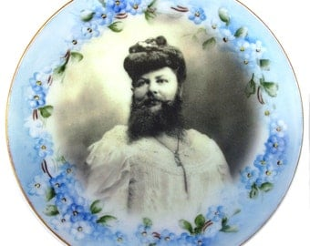 """Madame Delait, The Bearded Lady of Plombieres - Altered Antique Plate 6.15"""""""