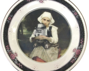 Girl and R2-D2 Portrait - Altered Vintage Plate 6.5""