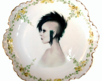 Modern Lady Portrait Plate - Altered Vintage Plate 6""