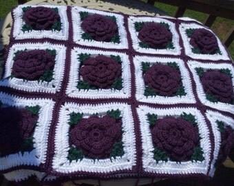 Floral Plum Purple Rose Crocheted Afghan Bedspread - 90 squares