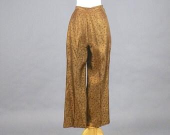 "1950s Cigarette Pants, 50s Pants, Metallic Bronze High Waisted Pants, Pinup Rockabilly Pants, VLV 28"" Waist Medium"