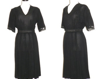 1940s Dress, 40s Black Rayon Swing Dress, Film Noir