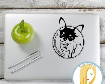 Chihuahua Vinyl Decal, Chihuahua Sticker, Dog Decal, Laptop Decal, Tablet Decal, Car Window Decal, Vinyl Decals, SoCalCrafty, Modern Simple