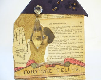 Fortune Teller Collage, Mixed Media Tiny Houses