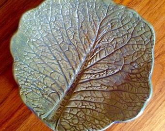 Lettuce cabbage vegetarian vegan ceramic plate green jewellery keeper change  or keys bowl