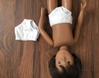 Two White Knit Boy Briefs Underwear for Sasha Gregor Doll