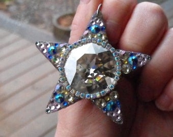 "Starlight, 2.5"" shining star, swarovski gems, glittery, sparkle, star, necklace, pendant, magical, fairy, Goddess"