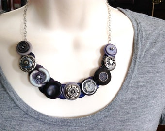 Hints of Purple button necklace