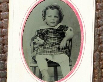 Tintype - Toddler Girl in Plaid