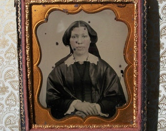 Half Case Ambrotype Lady w/ Lace Collar