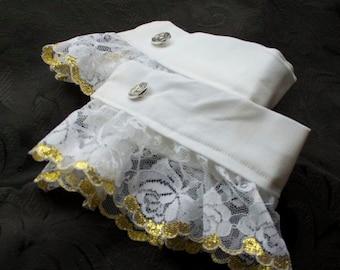 Regency Historic Victorian White CUFFS - Metallic Gold Scalloped Lace