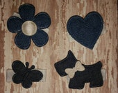 DENIM Baby Snap Clip - You Choose ONE - Heart, Flower, Butterfly or Puppy Clip