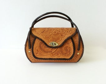 1950s Vintage Handbag - 50s Tooled Leather Purse