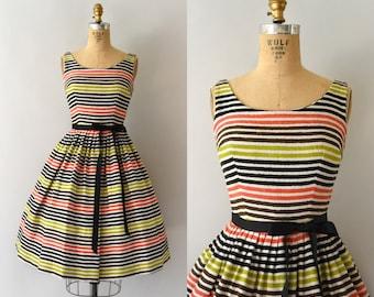1950s Vintage Dress - 50s Colorful Striped Linen Sundress