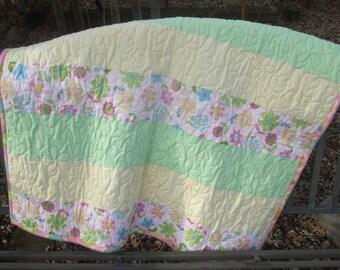 Baby Girl Quilt, Yellow, Green, Pink Flannel and Fleece Blanket, Stroller Quilt, Pram Quilt, Nursery Bedding, Lap Quilt, Wheelchair Quilt