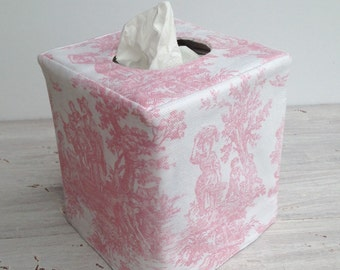 Pink toile reversible tissue box cover